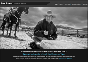 A screenshot of Jeff Scheid's photography website, featuring a black & white image of a elderly female sheepherder kneeling in front of some tied-up sheep legs while a horse stands patiently in the background.