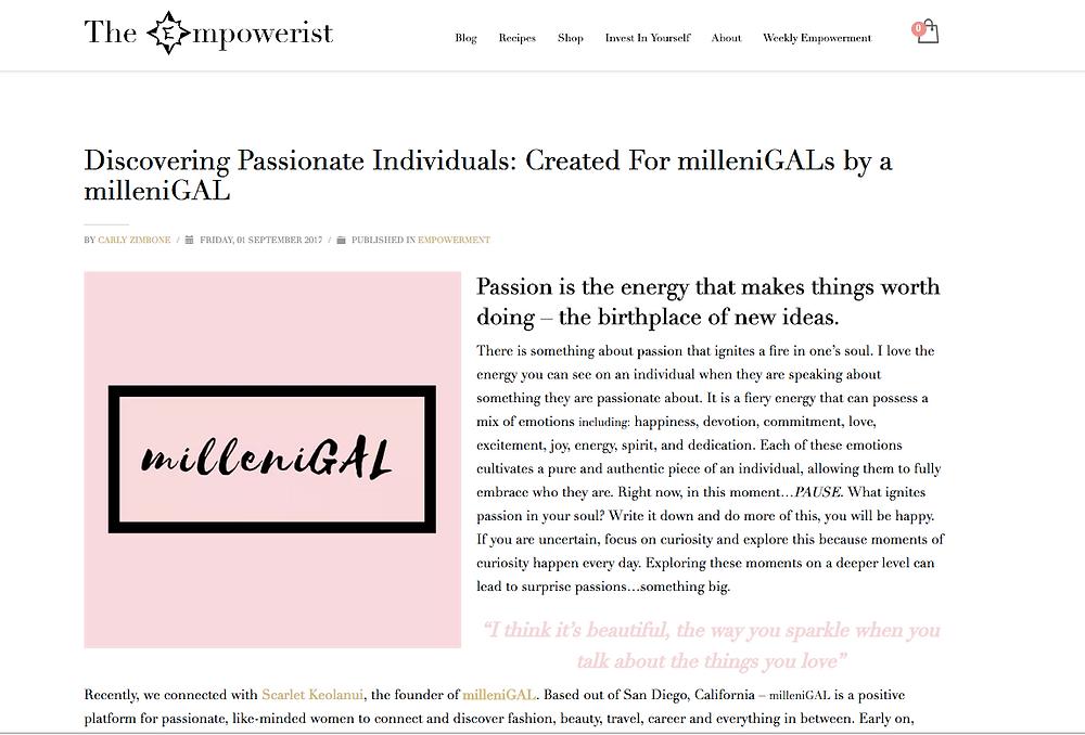 milleniGAL gets interviewed by The Empowerist