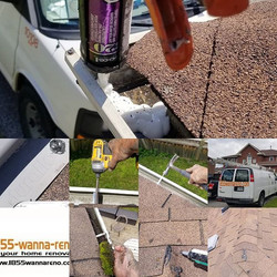 Eavestrough repair, cleaning and roof re