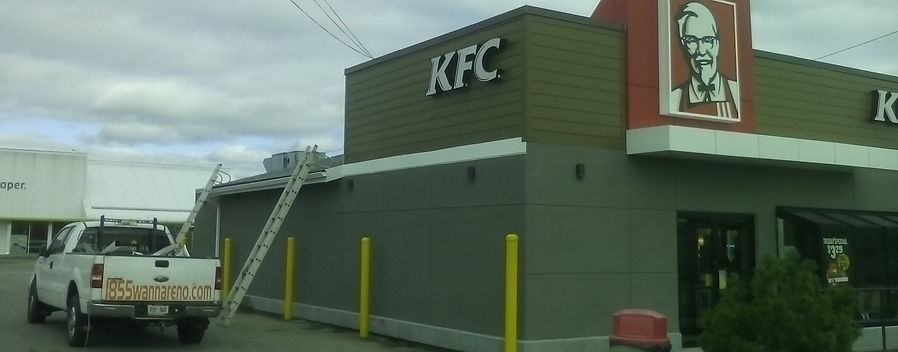 KFC Reno. Eavestrough whitby,Siding,Painting,Soffit,Fascia