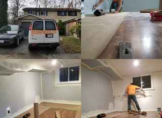 Residential Painting, backplash, flooring  and wood molding installation in Durham Ontario.