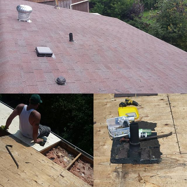 Roofing job done in Pickering. Vent Turbine - plywood installation -Shingles installation