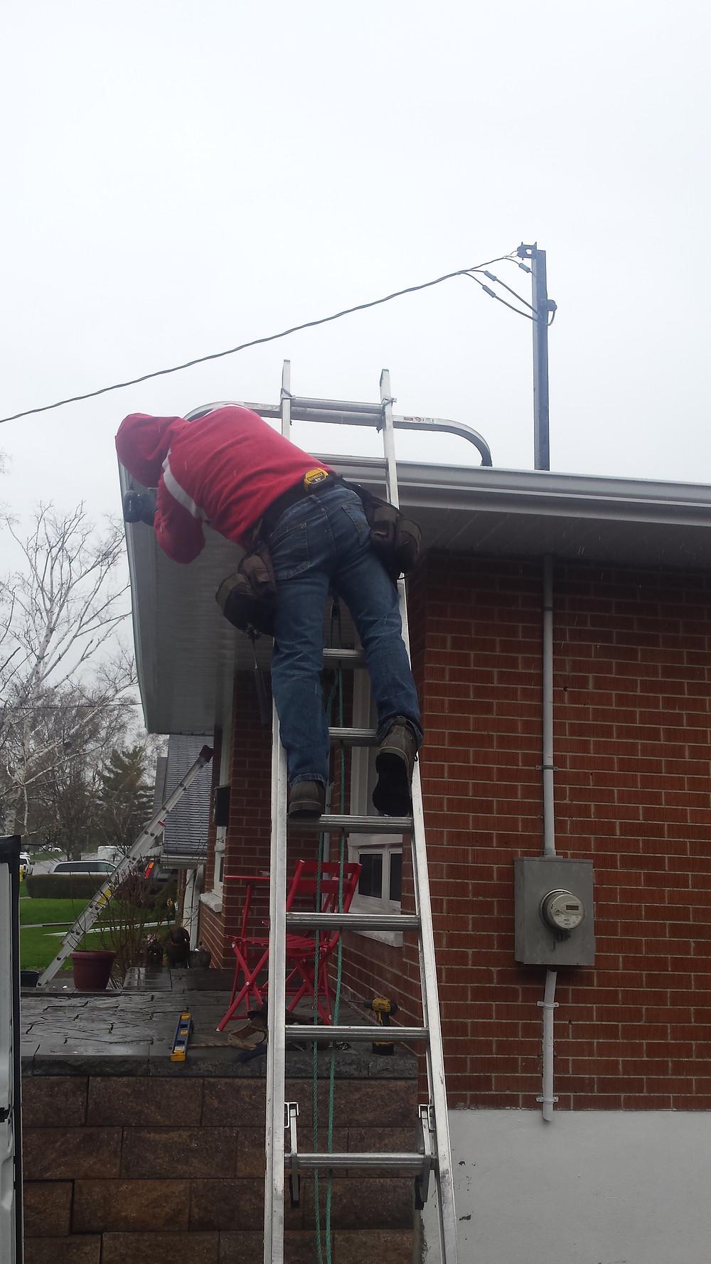 Eavestrough repair leafguard installation