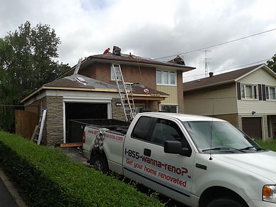Roofing project. Shingles installation. Roof repair. Roofing contractor