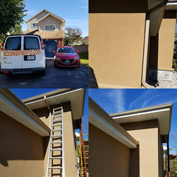 Exterior work done - aluminum + eavestrough repair and downpipes installation.