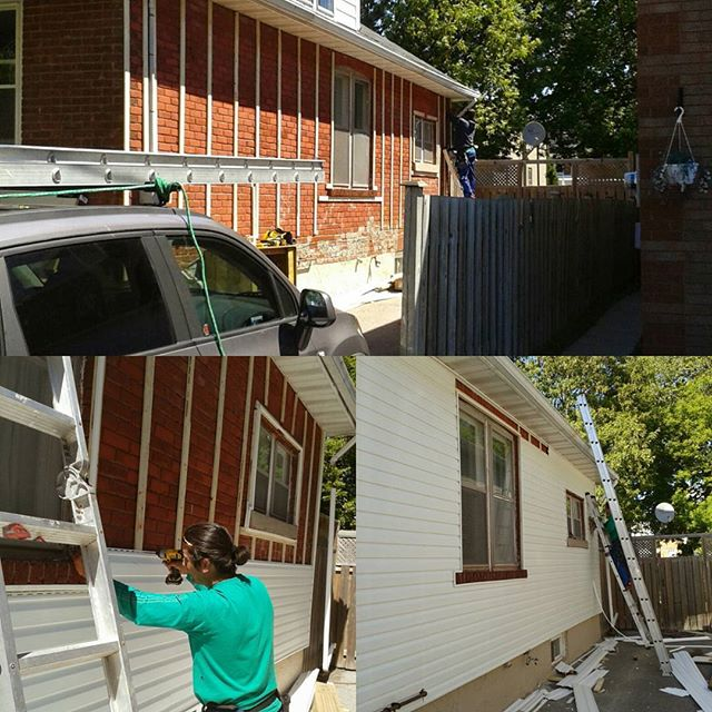 Siding installation job done