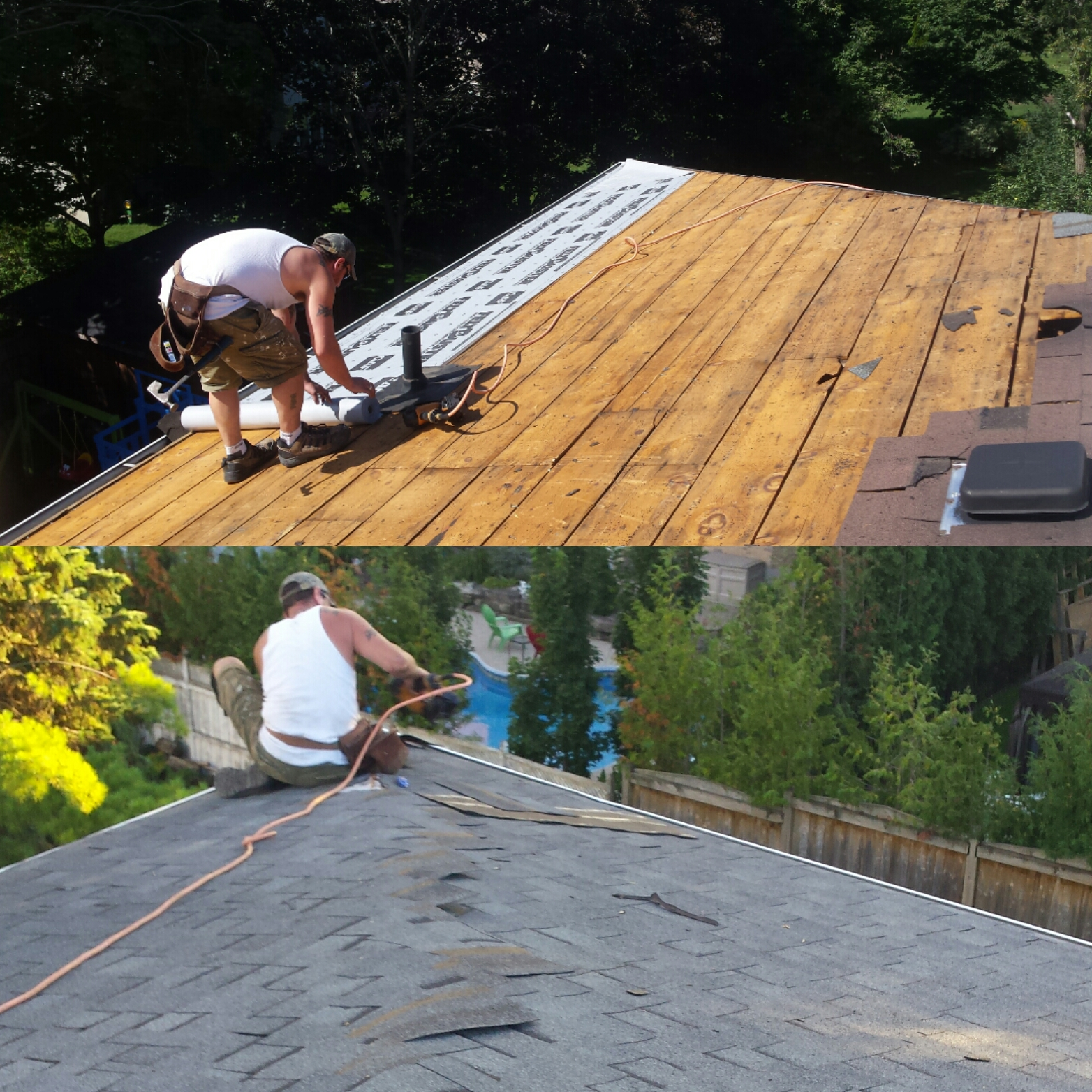 Roofing job. Shingles installation