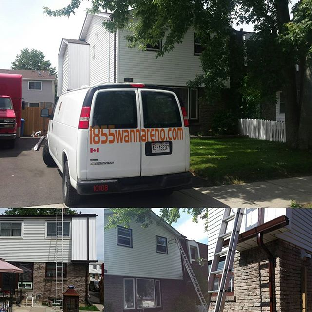 Siding repair and seamless eavestrough installation in Oshawa