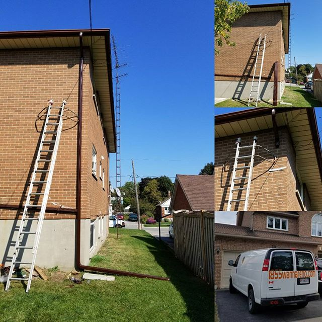 Eavestrough repair and downpipes installation in Whitby