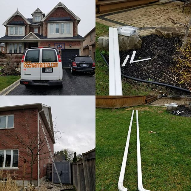 eavestrough repair and downpipes install