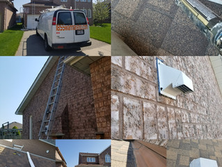 Vent, downpipes installation, Roof repair - caulking and Fascia repair in Whitby.
