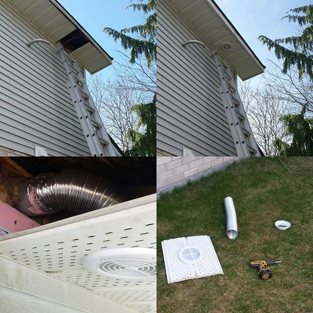 Vent installation on the soffit area. Courtice