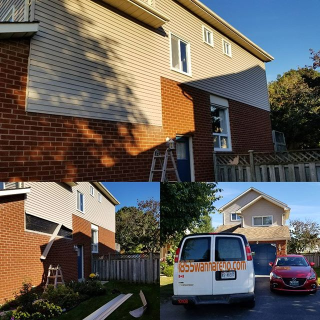Aluminum siding repair done in Whitby