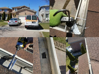 Eavestrough repair, Eavestrough cleaning and caulking job in Whitby.