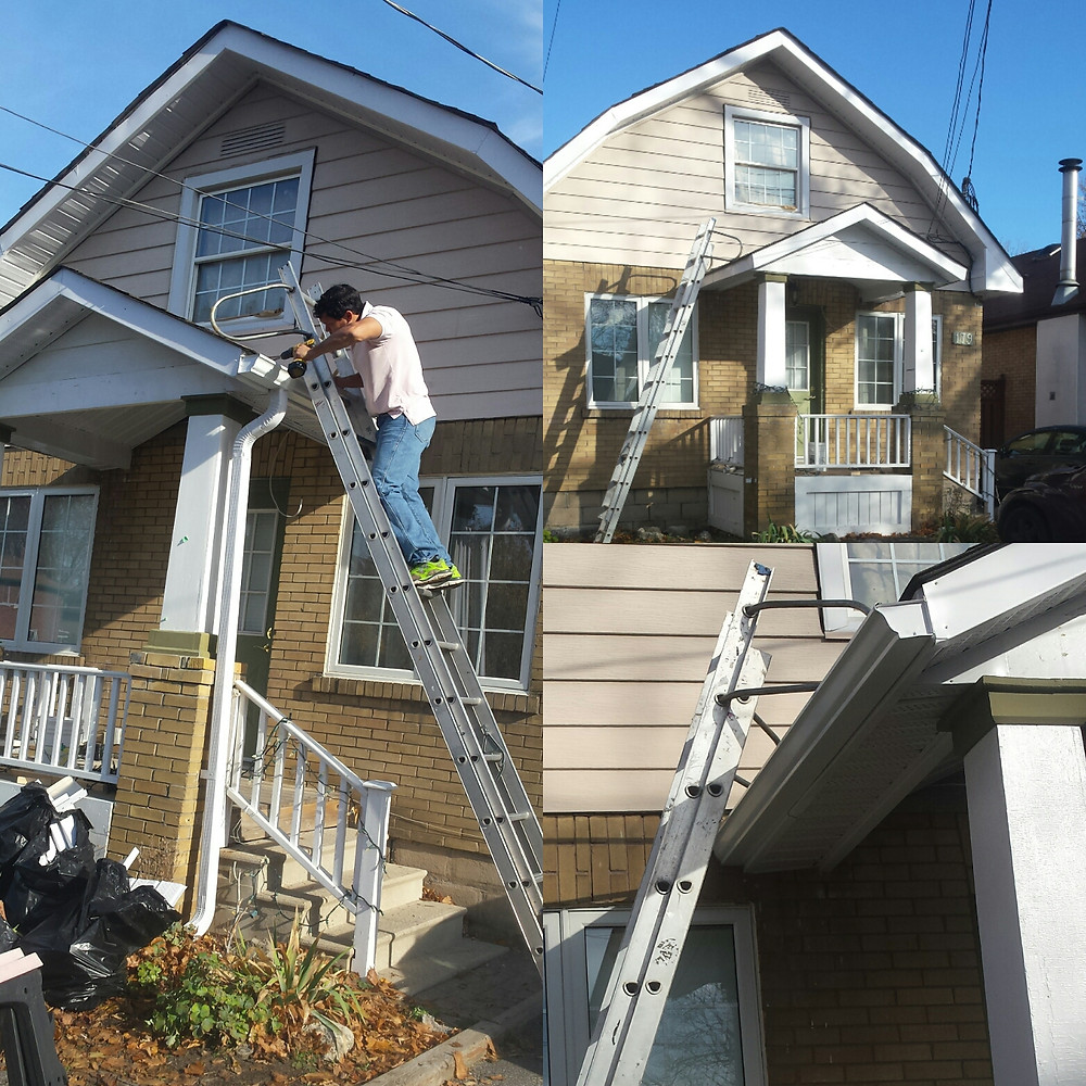 Eavestrough repair and cleaning by 1-855-wanna-reno?