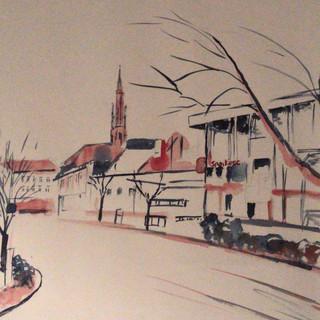 Sparkasse Offenburg mit Blick auf die evang. Stadtkirche