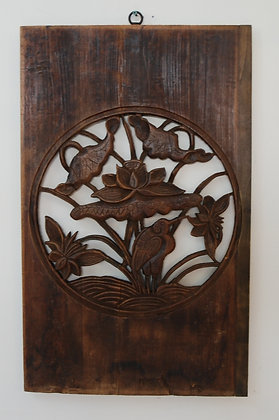 Antique Hand Carved Wood Panel