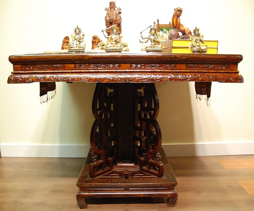 Chinese Antique, Carved Square Table
