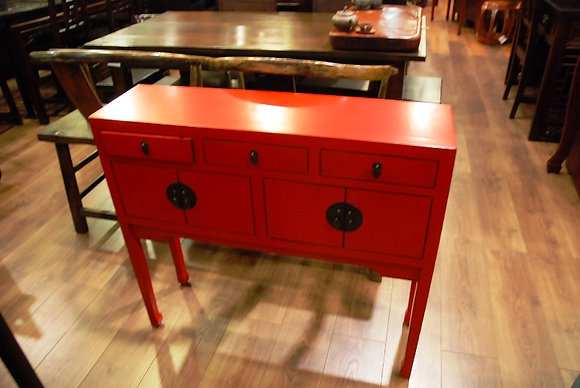 Red 3 Drawers 4 Doors Lady Cabinet