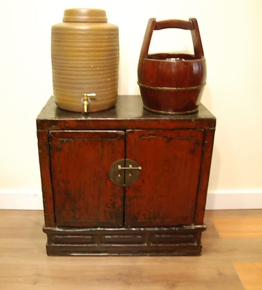 Chinese Antique Red Painted 2 Doors Cabinet