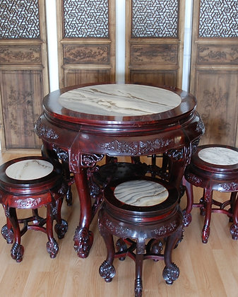 Table and Stools 酸枝红木