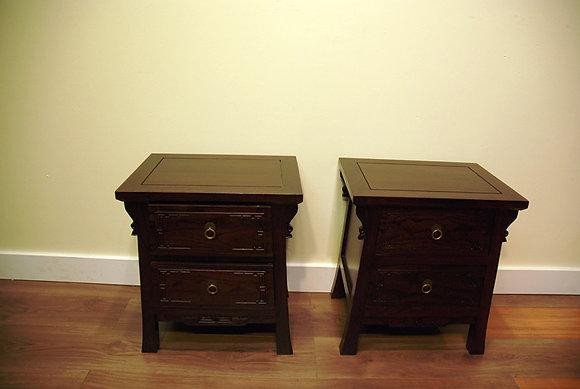 Elm Wood 2 Drawers Side Cabinet