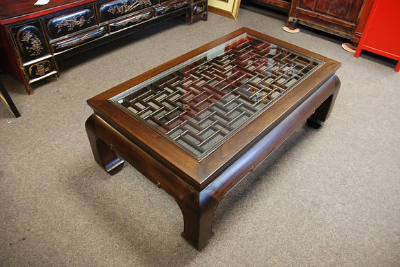 Elm Wood Coffee Table Screen Top with Glass