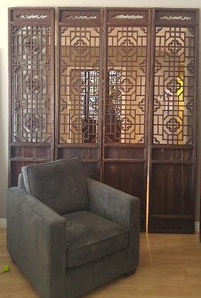Antique Chinese Wooden Door Screen (4PCS)