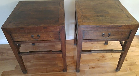 Antique Side Table with One Drawer (Pair)