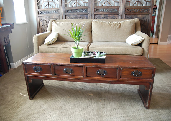 Antique 3 Drawers Bench Table