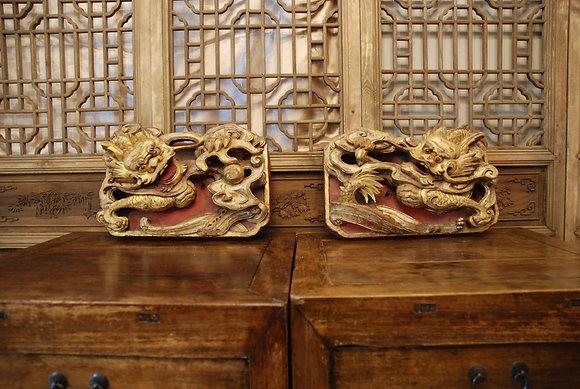 Antique Dragon Panel (Pair)