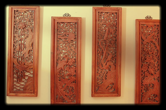 Chinese wood screen ( Set of 4 )