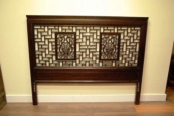 Elm Wood Carved Queend Size Bed with Frame