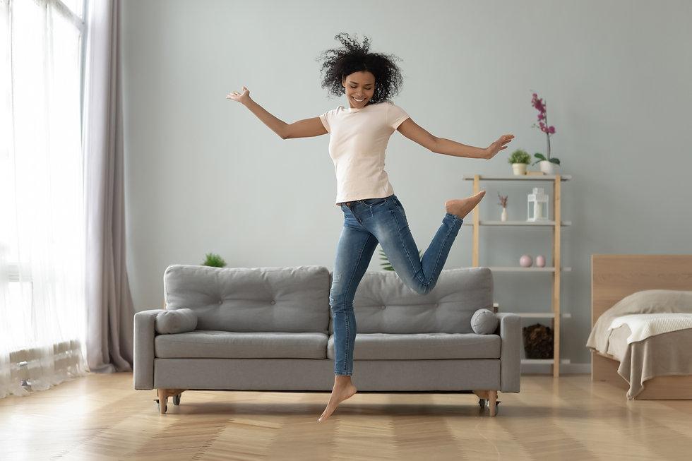 Carefree joyful african american millenn