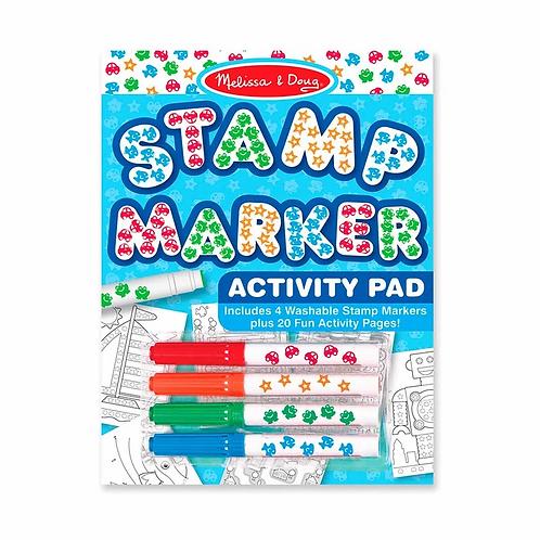 Libro de actividades con marcadores de sello