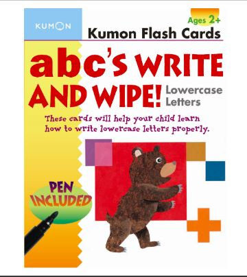 flashcards kumon: abc's write and wipe lowercase letters