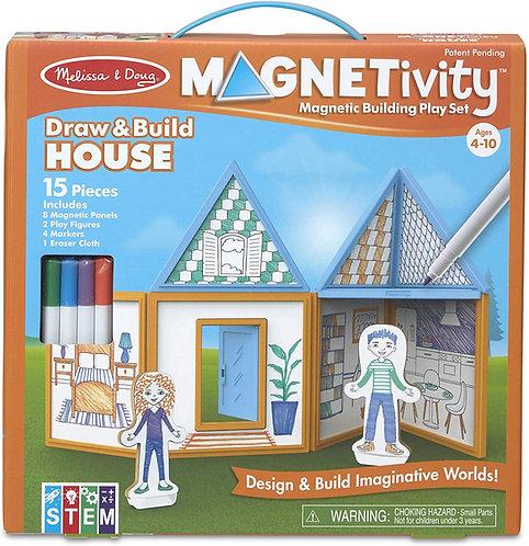 Set De Construcción Magnético Casa Para Pintar