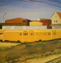 School Bus Landscape, 36 by 36, Oil on Panel