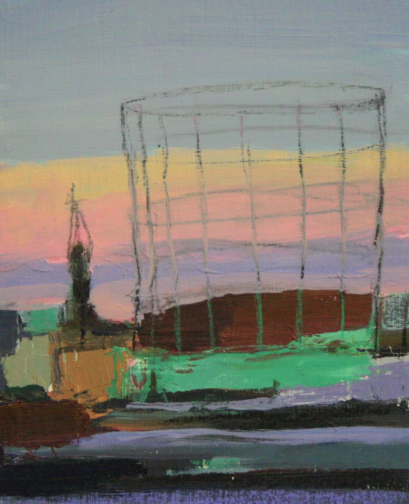 Gasometer Sculpture, 11'' by 14'', Oil on Linen
