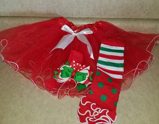 "2020 Holiday Recital Tutu, Hair Bow & Leg Warmer Set-""Candyland Christmas"" Theme"