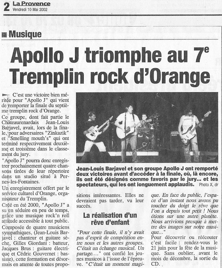 Apollo J triomphe au Tremplin Rock d'Orange