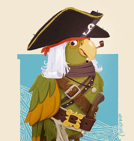 Peg-Legged Pirate Parrot