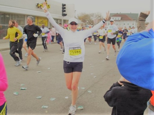 The author 6 miles into the Boston Marathon. Just 20 miles to go!