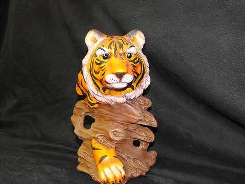 Tiger on wood base