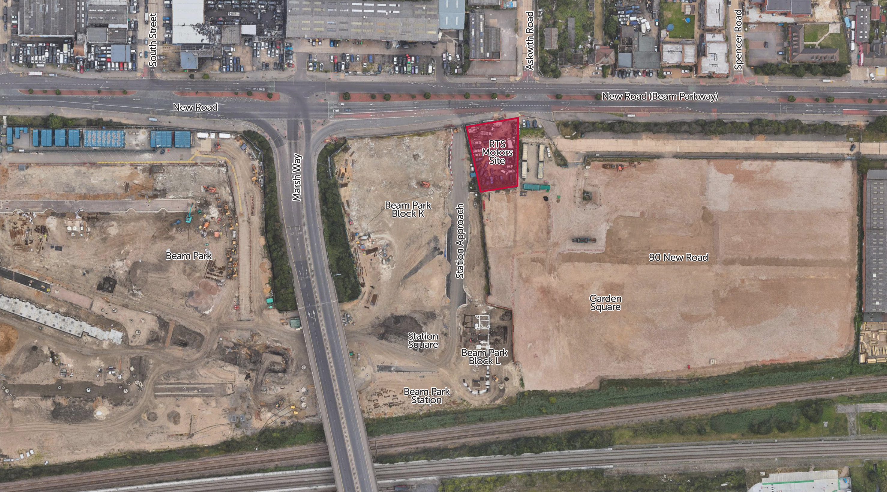 View of the RTS Motors site (in red) and wider context of 90 New Road and Beam Park