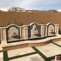 Elegant Wall Fountain in Cantera Stone