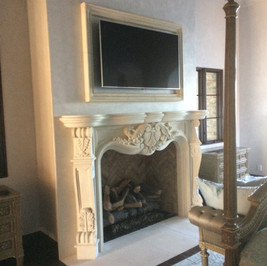 French Country Stone Fireplace Surround