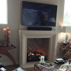 Contemporary Limestone Fireplace Surround