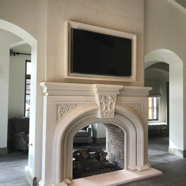 Carved Stone Fireplace Mantel Surround