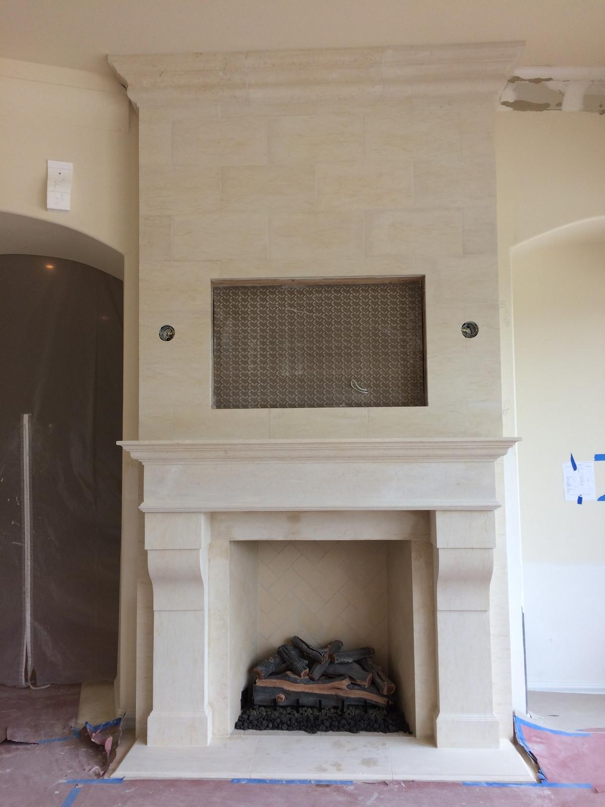 ... Traditional Limestone Fireplace Surround